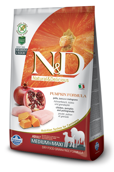 N&D GF Pumpkin DOG Adult M/L Chicken & Pomegranate - od 2,5 kg