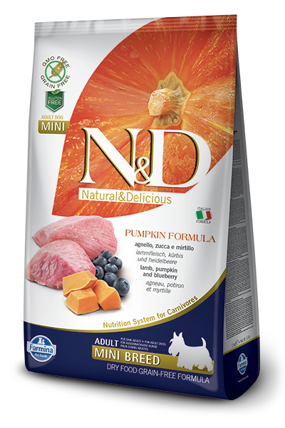 N&D GF Pumpkin DOG Adult Mini Lamb & Blueberry - od 800g