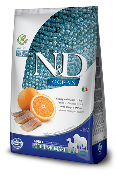 N&D OCEAN DOG GF Adult M/L Herring & Orange - 2,5 kg